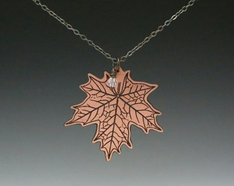maple leaf necklace, maple leaf charm, maple leaf pendant, maple leaf jewelry, swarovski crystal, Toronto maple leaf, copper maple leaf,