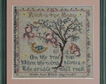 Birth Sampler Pattern, Tree Top Birth Sampler Counted Cross Stitch Pattern by Tempting Tangles Designs DD