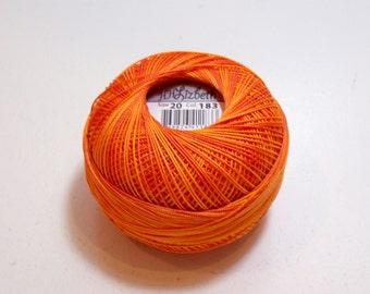 Orange Tatting Thread, Lizbeth Size 20 Cotton Crochet Thread, Orange Crush, Color number 183