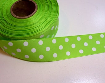 Green Ribbon, Offray Eloise Green Satin Ribbon 1 1/2 inches wide x 10 yards, Bright Green Polka Dot Ribbon, SECOND QUALITY FLAWED