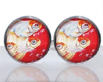 Koi Fish Asian Design Luck Round Glass Tile Cuff Links CIR173