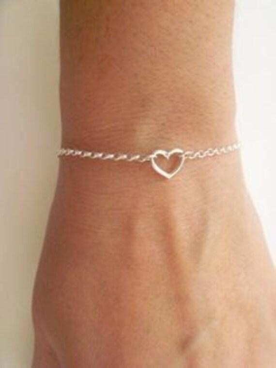 Girls Open Heart Sterling Silver Bracelet