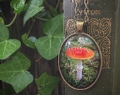 Mushroom pendant, Toadstool, Nature photography necklace, mycology