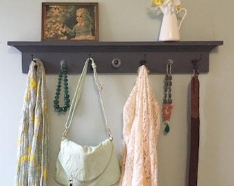 Gray distressed Coat Rack Shelf