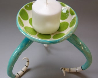 whimsicall pottery Candle Dish, soap dish, snack bowl with long curly striped legs, Dr Seuss Polka-Dots