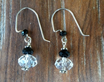 Black and Clear Crystal Earrings