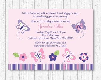 Cute Butterfly Baby Shower Invitation / Butterfly Baby Shower Invite / Pink Butterfly / Purple Butterfly / Baby Girl Shower / PRINTABLE