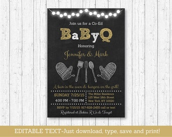 BBQ Baby Shower Invitation / BaByQ Baby Shower Invitation / Chalkboard Invitation / Coed Baby Shower / INSTANT DOWNLOAD Editable Text
