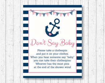 Cute Nautical Don't Say Baby Game / Nautical Baby Shower / Anchor Baby Shower / Clothespin Game / Pink & Navy Blue / INSTANT DOWNLOAD A132