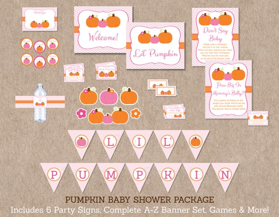 Pink Pumpkin Chevron Printable Baby Shower Party Package Ebay