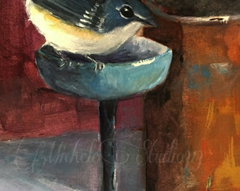 Acrylic Painting 4x6 Still Life After Dinner Guest Bird Wine Cherries Small Format Original