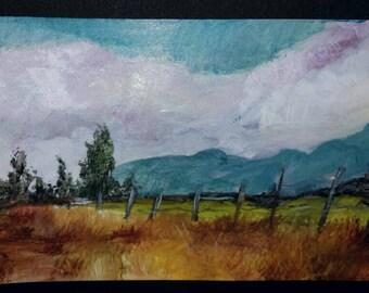 """3x5"""" Fence Landscape Painting"""