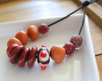 Chocolate Brown and Terracotta Bead Mix x 14
