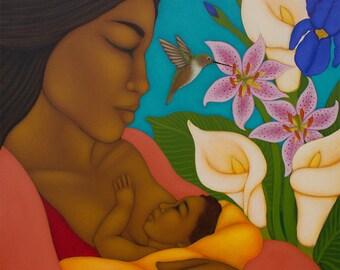 Breastfeeding Nursing Mother & Child Wall Decor Print of Original Painting By Tamara Adams