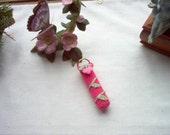 Rosebud Lip Balm Holder Keyring Crochet Thread Art New Handmade