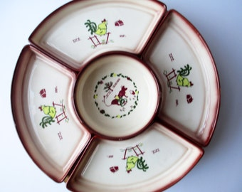 Vintage Brock Country Lane Lazy Susan Six Piece Set - Rare