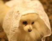 RESERVED - Dog Bride Fancy wedding BANDANA and 2 tier Veil - made to order