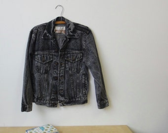 Vintage Black Acid Wash Denim Jacket - Roebucks Western Wear Sears