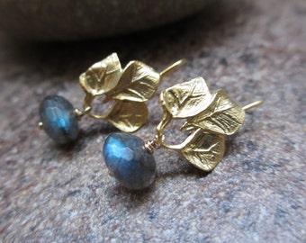Labradorite Earrings, Blue, Gold Earrings, Gold Leaf Earrings, Irisjewelrydesign