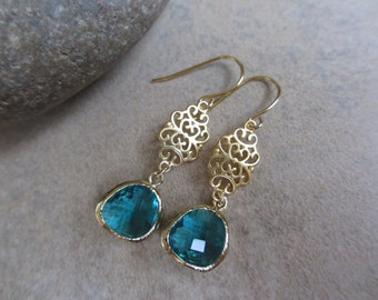 Teal Gold Earrings, Filigree, Drop, Dangle, Sea Green, Irisjewelrydesign