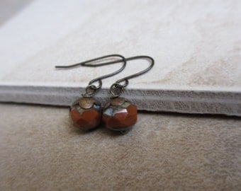 Dark Orange Earrings,  Burnt Orange, Auroa Red, Antiqued Brass, Small Bead Earrings, Czech Beads, Irisjewelrydesign