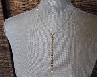 Gold Y Necklace, Delicate, Discs, Round, Layering Necklace, Modern, Minimalist, Irisjewelrydesign