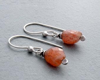 Faceted Sunstone Dangle Earrings, Sunstone Earrings, Orange Gemstone Earrings, Sterling Silver, Petite Earrings, Petite Dangles,  #4706