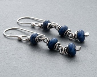 Lapis Lazuli Earrings, Cobalt Blue Gemstone Earrings, Lapis Lazuli Dangle Earrings, Lapis Earrings, Sterling Silver, Wire Wrapped, #4711