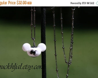 HUGE SALE White Mickey Mouse Style Head with Black Spooky Spider Lampwork DeSIGNeR Necklace Halloween Trick or Treat Boo