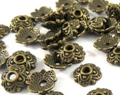 50 Antique Bronze Flower Bead Caps 4 Petal Tibetan Style 8x8x2mm LF/NF - 50 pc - F4189BC-AB50