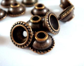 12 Antique Copper Domed Bead Caps Rope Design LF/NF/CF Tibetan Silver 10x5mm 2mm hole - 12 pcs - F4157BC-AC12