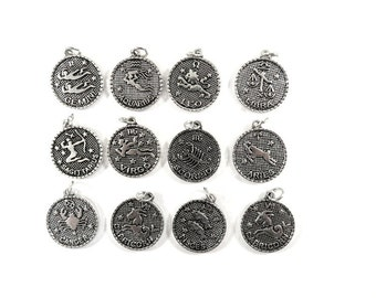 12 Zodiac Charms Astrology Pendants Antique Silver 23mm Round Star Constellation Drops - 12 pc set - 6509-13
