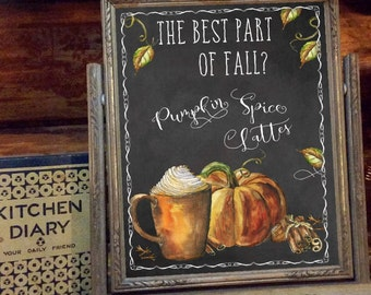 Printable Frameable Seasonal Decor Autumn Fall Pumpkin Spice Latte Printable Wall Art Digital Prints Chalkboard Version Instant Download