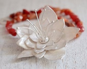 Ophelia necklace. Sterling silver flower necklace with Carnelian. Flower necklace, Carnelian necklace, Ophelia flower, Statement necklace.