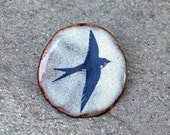 Ceramic Blue Swallow Brooch