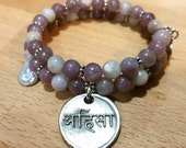Sanskrit Gemstone Bracelet Boho Festival Jewelry Ahimsa Do No Harm