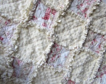 "Rose Baby Blanket, 29"" x 34"", Baby Rag Quilt,  Minky Baby Girl Blanket, Cottage Chic Decor, Flannel Baby Quilt, Cream Baby Bedding"