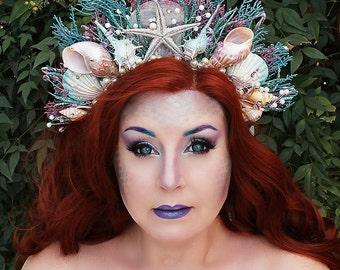 Light Mermaid Crown, Shell Crown, Mermaid Headpiece, Siren, Mermaid Hair Accessory, Mermaid Hair Wreath, Pageant, Halloween, Festival