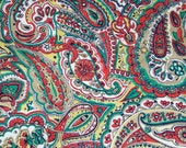 vintage 50s cotton print fabric, featuring great paisley print, 1 yard