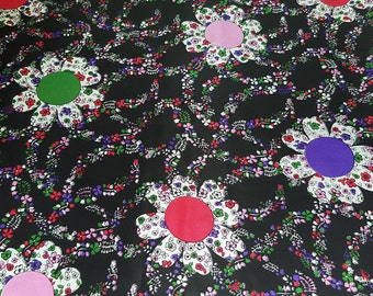 SALE vintage 60s acetate fabric featuring wild flowers and vines in black, red, pink, green and purple, 1 yard, 3 available priced PER YARD