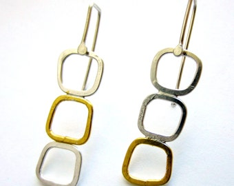 "23.5K gold and silver mixed metal ""Triple Pane Drop"" earrings READY TO SHIP"