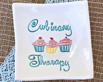 CLEARANCE - Square Cupcake Dish - Culinary Therapy Cupcake Plate In Stock Ready to Ship