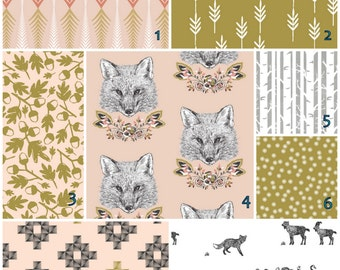 Foxy Loxy  Blush Olive crib bedding set  -   Modern Crib bedding set -  Design your own 3 pcs. SET Custom crib Bedding