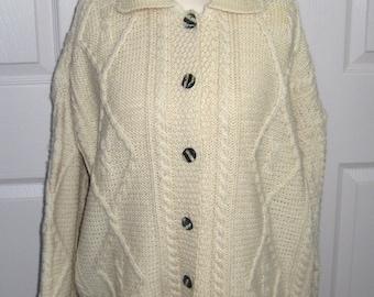 Irish Fisherman Cardigan . Irish fisherman sweater . Carriage Donn . size L/XL . merino wool cardigan . wool irish sweater