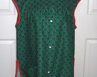 christmas smock . smock apron . red and green apron . full apron smock . artist smock . retro smock . xmas smock