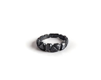 Oxidized Silver Ring, Faceted Ring, Silver Band Ring, Textured Ring, Rustic Silver Ring, Black Rocks Ring