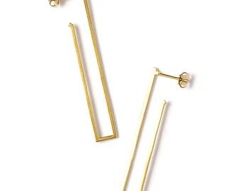 SALE 50% OFF Long Gold Earrings, Rectangle Earrings, Long Post Earrings, Geometric Gold Earrings