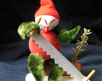 Christmas Elf Cutting Yule Log Spun Cotton
