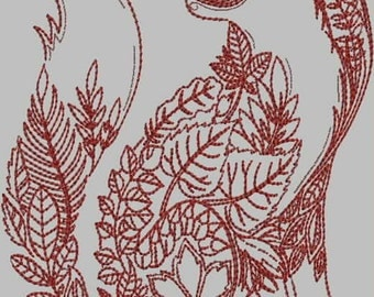 Leafy Fox Digitized Embroidery Design