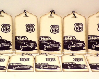 1950's Route 66 Car Tags...set of 10 Tags..Antique distressed tags...gift tags...journal tags...scrapbooking...Birthday tags...hand stamped!